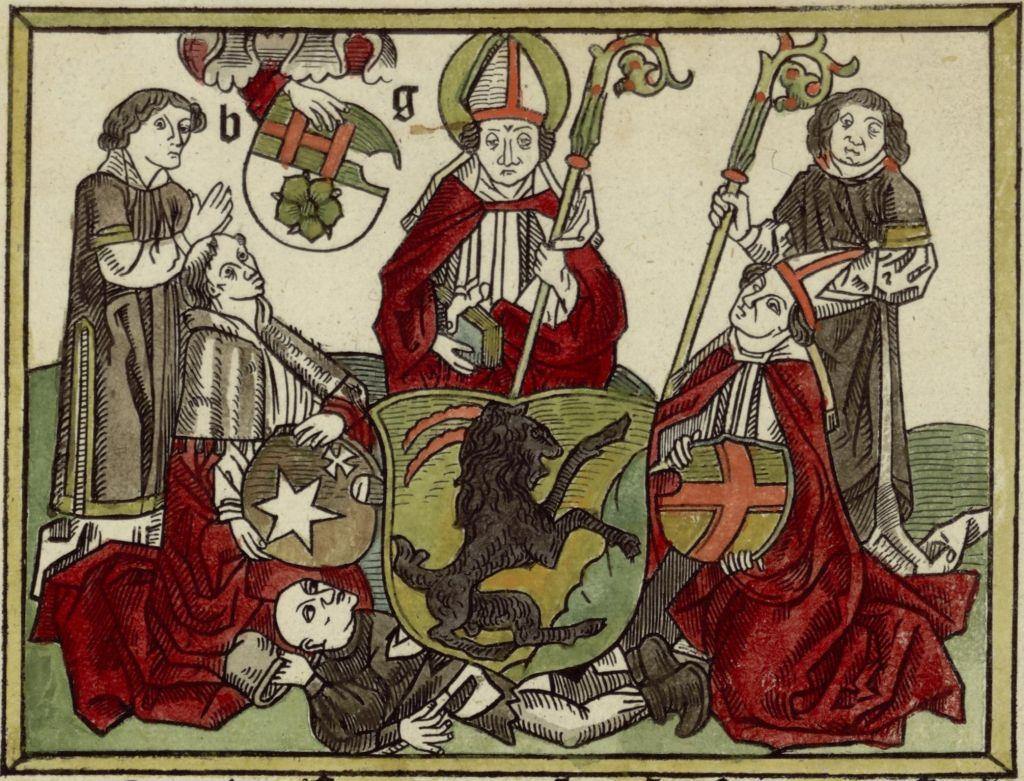 Keskiaikaisen kirjan kuvistusta Piispa Henrikistä.