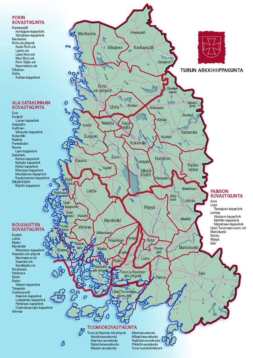 Turun arkkihiippakunnan kartta.