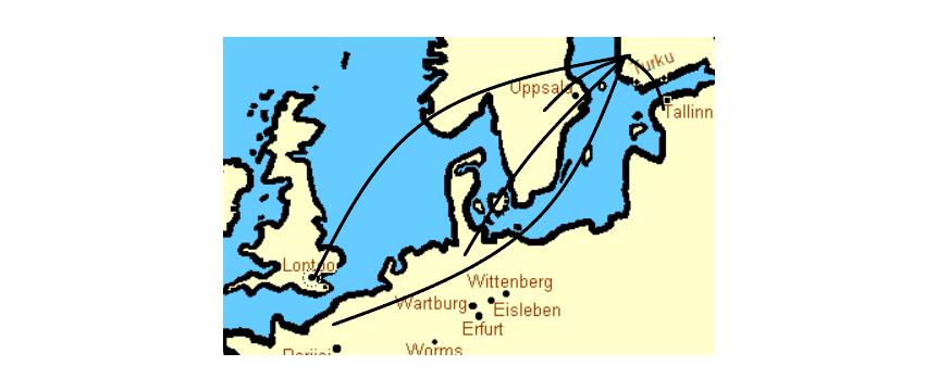 Kartassa reittejä Suomesta Eurooppaan.