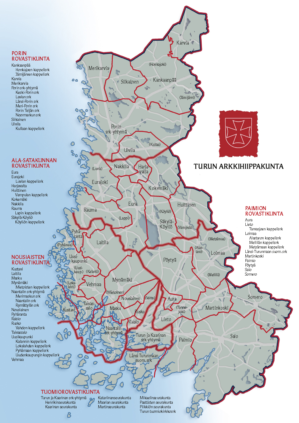 Arkkihiippakunnan kartta 1.1.2020 alkaen