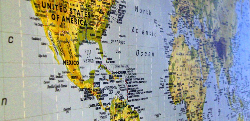 Osa maailman kartasta jossa näkyy Keski-Amerikkaa ja afrikkaa