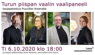 Turun piispan vaalin vaalipaneeli Porin Puuvillassa. Kuvassa Heikki Arikka, Kaisa Huhtala, Jouni Lehikoinen ja Mari LEppänen