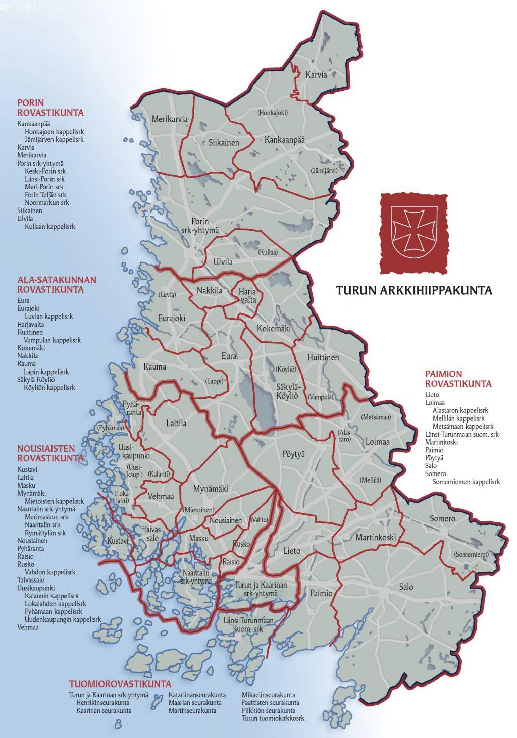 Arkkihiippakunnan kartta